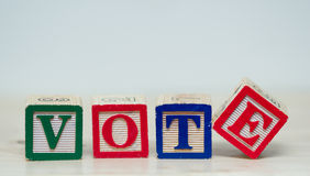 Parola di voto nei blocchi Immagine Stock