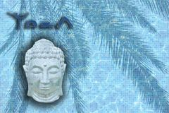 Parola di yoga con le figure in pose e testa addormentata di Buddha fotografie stock