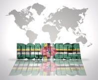 Parola Dominica su un fondo della mappa di mondo Immagine Stock Libera da Diritti