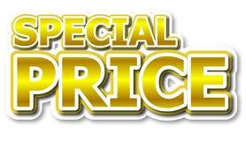 Parola dorata di prezzi speciali Immagine Stock
