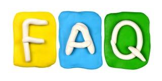 Parola FAQ della forma di alfabeto della plastilina Fotografie Stock Libere da Diritti