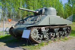 M4 `Sherman` - American tank of the period of World War II in the tank museum. Parola, Finland Royalty Free Stock Photography