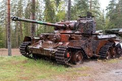 Free Parola, Finland - May 2, 2019: Tank Museum In The City Of Parola. Tank Target At The Site. Armor Has Holes From Royalty Free Stock Photography - 151211797