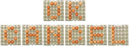 Parola GIUSTA dell'ANNULLAMENTO dalle uova in vassoio Immagine Stock