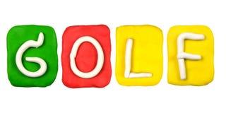 parola GOLF della forma di alfabeto del plasticine Fotografia Stock Libera da Diritti