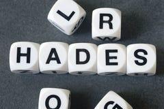 Parola Hades sui cubi del giocattolo Fotografia Stock