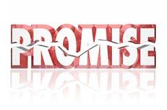 Parola incrinata di rosso rotta promessa 3d Fotografia Stock Libera da Diritti