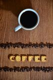 Parola inglese ' Coffee' , composto delle lettere del salatino fotografie stock