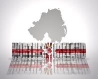 Parola Irlanda del Nord su un fondo della mappa Immagine Stock