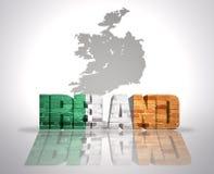 Parola Irlanda su un fondo della mappa Fotografia Stock