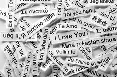 Parola multilingue di amore Fotografia Stock Libera da Diritti