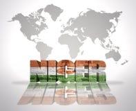 Parola Niger su un fondo della mappa di mondo Fotografia Stock Libera da Diritti
