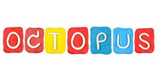 parola POLIPO della forma di alfabeto del plasticine Fotografia Stock