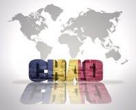 Parola Repubblica del Chad su un fondo della mappa di mondo Immagini Stock