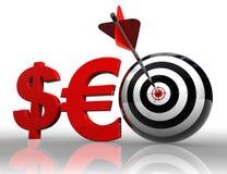 Parola rossa di Seo con l'euro e l'obiettivo del dollaro Fotografie Stock Libere da Diritti