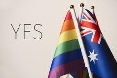 Parola sì e bandiere dell'arcobaleno e dell'australiano fotografia stock