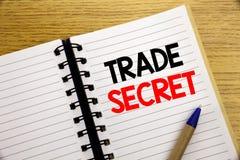 Parola, scrivente segreto commerciale Concetto di affari per protezione dei dati scritta sul blocco note con lo spazio della copi Fotografie Stock