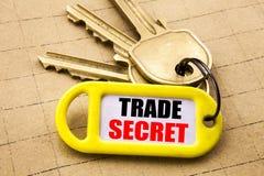 Parola, scrivente segreto commerciale Concetto di affari per protezione dei dati scritta sul portiere, fine strutturata del fondo Fotografie Stock Libere da Diritti