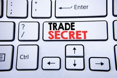 Parola, scrivente segreto commerciale Concetto di affari per protezione dei dati scritta sulla chiave di tastiera bianca con lo s Immagini Stock Libere da Diritti