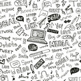 Parola sociale di media, modello senza cuciture dell'icona doodle Fotografie Stock Libere da Diritti