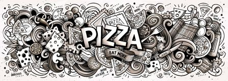 Parola sveglia della pizza di scarabocchi del fumetto Linea illustrazione orizzontale di arte immagini stock libere da diritti