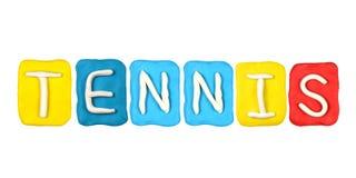 Parola TENNIS della forma di alfabeto della plastilina Immagine Stock