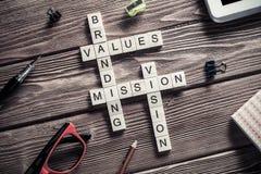 Parole chiavi concettuali di affari sulla tavola con gli elementi del maki del gioco Immagini Stock