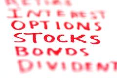 Parole chiavi delle finanze Fotografie Stock Libere da Diritti