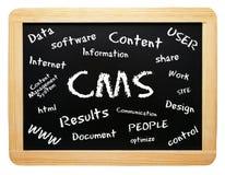 Parole del CMS sulla lavagna immagine stock libera da diritti