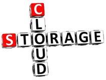 parole del cubo delle parole incrociate della nuvola di stoccaggio 3D Fotografie Stock Libere da Diritti