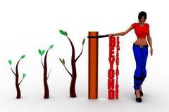 parole delle donne 3d oltre le aspettative su un righello per illustrare i grandi risultati Fotografie Stock Libere da Diritti