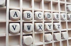 Parole di alfabeto fatte con lo sviluppo dei blocchi di legno Fotografie Stock Libere da Diritti