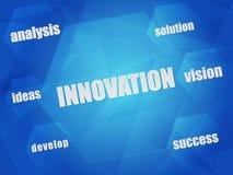 Parole di concetto di affari e dell'innovazione negli esagoni Fotografia Stock Libera da Diritti