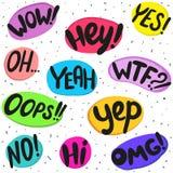 Parole di dialogo: wow, hey, sì, oh, sì, wtf, oops, yep, no, ciao, omg Insieme disegnato a mano Illustrazione di vettore Fotografie Stock