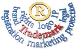 Parole di marchio di fabbrica intorno al simbolo del IP R Fotografia Stock