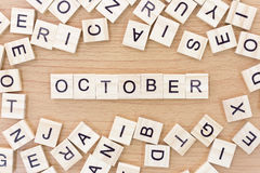 Parole di ottobre con i blocchi di legno Immagine Stock Libera da Diritti
