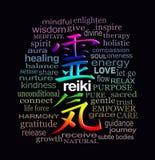 Parole di Reiki di saggezza sul nero Fotografie Stock