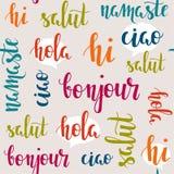 Parole di saluto nelle lingue differenti Fotografie Stock