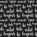 Parole di saluto nelle lingue differenti Ciao, hola, ciao, bonjour, namaste, salut Reticolo senza giunte di vettore Fotografie Stock