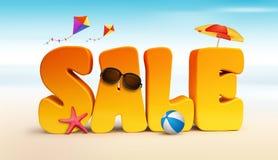 parole dimensionali di titolo di vendita 3D per estate Immagine Stock