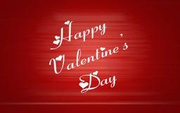 Parole felici di San Valentino con i cuori di amore su fondo rosso Fotografie Stock Libere da Diritti