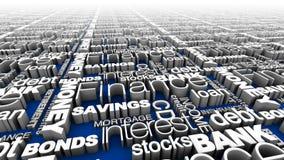 Parole finanziarie blu Fotografia Stock Libera da Diritti