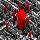 Parole finanziarie - frecce rosse in su Immagini Stock Libere da Diritti