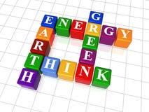 Parole incrociate 26 - l'energia, terra, pensa, si inverdice Immagini Stock Libere da Diritti