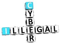 parole incrociate cyber illegali 3D illustrazione di stock