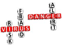 Parole incrociate del pericolo del virus Immagini Stock Libere da Diritti