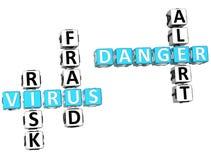 Parole incrociate del pericolo del virus Fotografia Stock Libera da Diritti