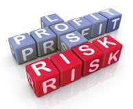 Parole incrociate del profitto, della perdita e del rischio Immagini Stock