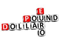 parole incrociate dell'euro della sterlina del dollaro 3D royalty illustrazione gratis