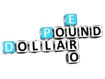 parole incrociate dell'euro della sterlina del dollaro 3D illustrazione di stock
